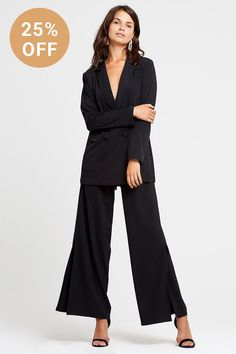 15 Of The Best Women's Suits For All Budgets, Bodies & Occasions Weekend Plans, Double Breasted Blazer, Crepe Fabric, Wide Leg Trousers, Suits For Women, How To Introduce Yourself, Amazing Women, Jumpsuit, Chic