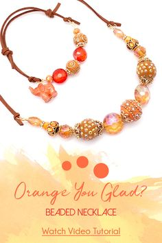 How-To Jewelry Tutorial: Orange You Glad Necklace & Bracelet Combo Leather Cuffs, Leather Jewelry, Metal Jewelry, Beaded Jewelry, Jewelry Necklaces, Watch Necklace, Diy Necklace, Washer Necklace, Diy Jewelry Projects