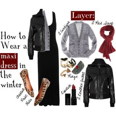 """""""Wearing a Maxi Dress in the Winter"""" by ltlrzoe186 on Polyvore Black Dress Outfits, Winter Dress Outfits, Dress Code, Maxi Skirt Winter, How To Wear Scarves, Black Maxi, Rock, Wearing Black, Autumn Winter Fashion"""