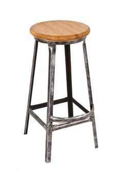 well-built early 20th century antique american four-legged riveted joint angled steel factory stool with solid maple wood seat