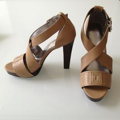Calvin Klein nude heels Authentic nude Calvin Klein shoes. Wooden heels and platform. The heel isn't too thick or thin, so very stable without looking clunky. Worn once, in excellent condition. Size 6.5 Calvin Klein Shoes Heels