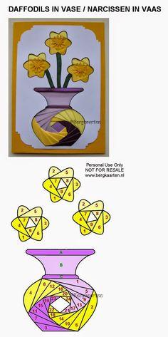 Irisvouwen: Narcissen in vaas