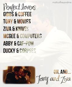 So mine would be Kayla & coffee AND movies :) & I love NCIS :)