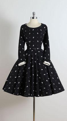 Vintage 50s Dress 1950s wool dress skater by millstreetvintage