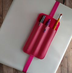 Triple Pen Holder Bookmark, Planner Band, Raspberry Vinyl with Hot Pink Felt and Elastic, Made in USA, Stretchy Bookmark, Binder Pen Holder by ShopOrangeBlossoms on Etsy https://www.etsy.com/listing/268516201/triple-pen-holder-bookmark-planner-band