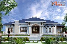 Thiết kế nhà vườn 250m2 vô cùng đẳng cấp của gia đình, phân chia công năng tối ưu, hợp phong thủy,giao thông đi lại thuận tiện hợp lý. Indian House Exterior Design, Classic House Exterior, Modern Exterior House Designs, Classic House Design, Latest House Designs, Dream House Exterior, Modern Bungalow House Design, Modern Small House Design, Model House Plan