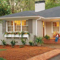 Ideas House Exterior Colors Grey Flower Boxes For 2019 Ranch Exterior, House Paint Exterior, Exterior Remodel, Exterior Paint Colors, Exterior House Colors, Paint Colors For Home, Exterior Design, Brick Exterior Makeover, Paint Colours