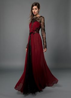 Chiffon and Lace Long Sleeve Gown with Beaded Embellishment in Burgundy/Black | Tadashi Shoji