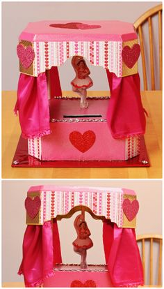 Handmade barbie car valentine box for school crafty Valentine stage decorations