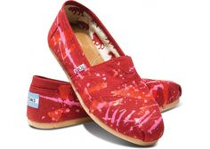 Red splatter Toms shoes #oneforone