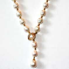 DESIGNER PEARL LARIAT NECKLACE WITH DIAMONDS CLASP 18K GOLD BEADS 8-8.5MM #Unbranded #Lariat