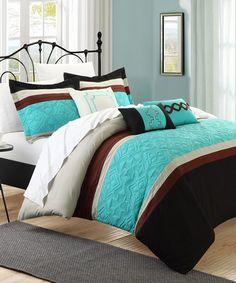 Aqua Corrine Comforter Set #zulily #zulilyfinds