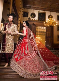 <3 CUSTOMIZE IN ANY COLOR AND SIZE <3 HotRed Zari Work train Style Bridal Gown With CreamBrown Groom Sherwani at Zikimo Shop @https://goo.gl/N1Ws9T  #lehengas #lehengacholi #lehenga #ghagra #ghagracholi #embroidery #threadwork #mirror #mirrorwork #pink #peach #designerwear #handwork #handmade #chaitanyacouture #instagram #couture #indianfashion #indianstyle #banarasisaree #suit #saree #gown - http://ift.tt/1HQJd81