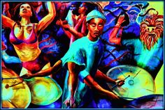 Mural art of a drummer with multiple arms