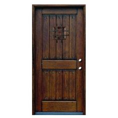 Rustic Mahogany Type 2-Panel V-Groove Pre-Finished Distressed Solid Wood Entry Door with Rustic Hardware