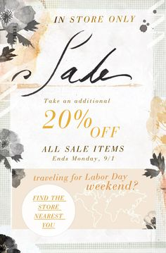 SALE Take an additional 20% off all sale items Ends Monday, 9/1. Traveling for Labor Day Weekend?