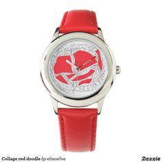 Tu reloj Reloj infantil de pulsera de cuero rojo y acero inoxidable personalizado