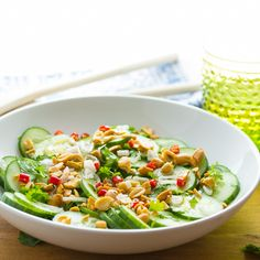 Crunchy Asian Cucumber Salad with Roasted Peanuts | Sweet Peas and Saffron