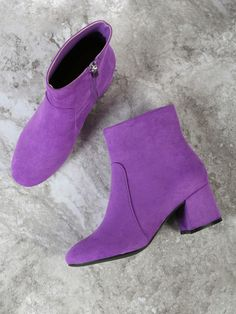 Shop Faux Suede Chunky Heel Round Toe Bootie PURPLE online. SheIn offers Faux Suede Chunky Heel Round Toe Bootie PURPLE & more to fit your fashionable needs.
