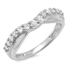 055 Carat ctw 14K White Gold Round Diamond Ladies Wedding Guard Contour Band 12 CT Size 65 >>> Find out more about the great product at the image link.
