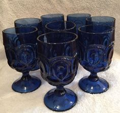 "RARE Vintage Le Smith Cobalt Blue Moon and Stars 6"" Goblets Set of 8 | eBay"