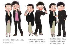 Todomatsu, Jyushimatsu & Ichimatsu with mom Anime Guys, Manga Anime, Anime Art, Gekkan Shoujo Nozaki Kun, Funny Scenes, Ichimatsu, Manga Illustration, Brother, Fan Art