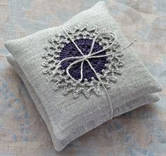 These unique lavender sachets are sewn from linen with a crocheted motif. Sachets contain high quality lavender imported from France (approx. Crochet Pincushion, Crochet Cushions, Crochet Motif, Pin Cushions, Lavender Bags, Lavender Sachets, Crochet Home, Crochet Gifts, Crochet Projects