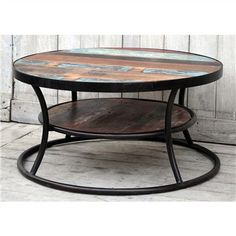 Industrially inspired, the Wally coffee table is made from cast iron and timber with a water finish. The pop of colour on the tabletop makes it eclectic, rustic and adds a little grunge while the cast iron ensures a sleek and modern look. The Wally is Coffee Table With Shelf, Round Coffee Table, Craft Materials, Cast Iron, Hardwood, Mango, Recycling, Home And Garden, Shelves