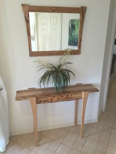 Vic ash & Birdseye hall table with matching mirror