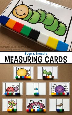 Printable bugs and insects measuring cards for preschool pre-k and kindergarten. An engaging way for students to demonstrate non-standard measurement counting set-recognition the concept of more/less/same and fine motor skills! Insect Activities, Pre K Activities, Preschool Printables, Preschool Activities, Montessori Preschool, Montessori Elementary, Kindergarten Centers, Preschool Kindergarten, Preschool Classroom Centers