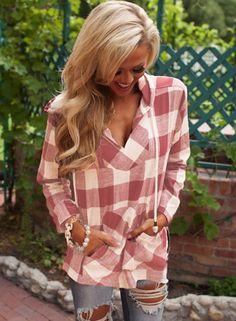 Fashion Long Sleeve Pullover Plaid Hoodie Shirt NOVASHE.com