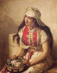 .:.Oriental Flower Seller Jean Francois Portaels (undated) .
