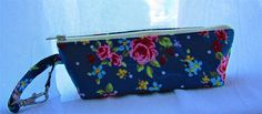 Spectacles and sunglasses pouch with blue floral design by Rosiepusscrafts on Etsy
