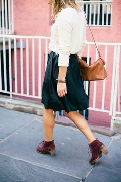 The perfect fall palette, burgundy, black, brown, and leather!  Skirt from LE TOTE: https://letote.com/clothing/1509-midi-skirt  Photo from Advice from a Twenty Something