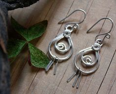 Arabesque earrings, sterling silver eastern spirals jewelry