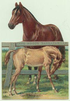 Hood's Sarsaparilla Die-cut Stand Up Victorian Trade Card Horses