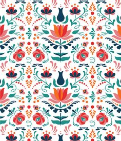 How to Design a Colorful Hungarian Folk Art Pattern · design inspiration for creatives Boho Pattern, Pattern Art, Pattern Paper, Free Pattern, Illustration Design Graphique, Pattern Illustration, Simple Illustration, Fantasy Illustration, Digital Illustration