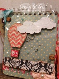 Mini Album cover using 5 ULD embellishments. clouds, hot airballoon, and mini honeycomb shaped words.  This hot air balloon was decorated w/ color shine, stencils, and paper.