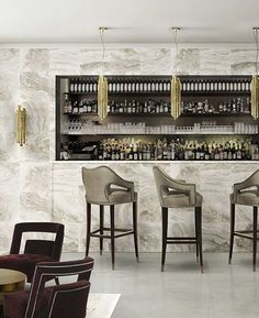 Trendy Interior Design Tips for your Hospitality Design Projects Contemporary Bar Stools, Contemporary Home Furniture, Luxury Furniture, Modern Contemporary, Modern Design, Bar Furniture, Furniture Design, Modern Bar, Decoration Inspiration