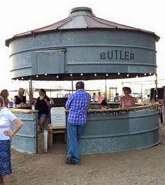 Grain bin becomes outdoor bar Outside Patio, Outside Living, Outdoor Living, Silo House, Grain Silo, Outdoor Spaces, Outdoor Decor, Outdoor Ideas, Garden Cottage