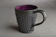 This is too cool-I think I might need a new mug!!! Spiky Mug Made To Order Black and Royal by symmetricalpottery, $25.00