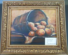 """Art for the month of March, by Trudy Mills. """"Pail of Spuds"""" done in oil."""