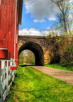 Walking Tunnel Photo Print, Country Home Decor, Landscape Photograph, Bike Art, Home Decor, Red Barn Photo, Stone Tunnel Photo, Wall Decor