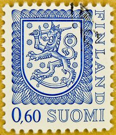 stamp Suomi Finland 0.60 M posatge blue poste timbre finlande selo francobolli finlandia porto franco sellos armorial bearings hatchments 邮票  芬兰 почтовая марка Финляндия yóupiào Fēnlán by stampolina, via Flickr