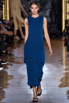 Classic Blue felt chic and easy on the Stella McCartney runway. This strong shade pairs well with the entire spring 2015 palette.  #StellaMcCartney #SpringTrends