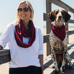 Need last minute gifts for Mother's Day? There's still time! Featured: Petit Buffalo dog bandana + matching infinity scarf for all the stylish dog mommies in your life.  We offer  many gift sets, including loungewear for moms with matching dog bandanas.