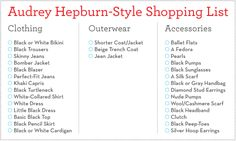 Audrey Hepburn-Style Shopping List. A perfect guide to timeless fashion. Style icon.