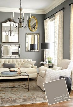 New living room white ideas salons ideas Home Living Room, Curtains Living Room, Living Room Paint, Living Room Colors, Apartment Living Room, Trendy Living Rooms, Living Room Grey, Country Living Room Furniture, White Rooms