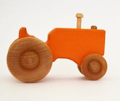 Personalized Wood Toy Tractor - Orange Wooden Toy Tractor - Push Toy - Waldorf…