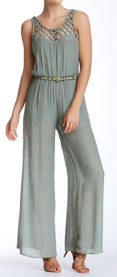 Gauzy jumpsuit, love the lattice detailing on the neck.